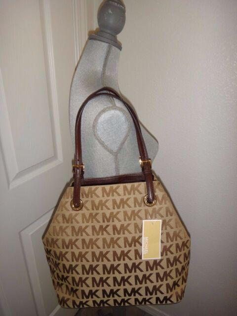 b52e8d034170b MICHAEL KORS Women's Beige Mocha MK SIGNATURE Jacquard Grab Bag Convertible  Tote