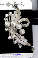 CURLED LEAF SHAPE CRYSTAL AND PEARL BROOCH