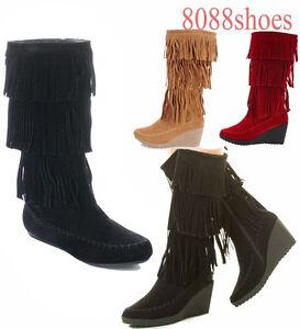 Women-039-s-Fringe-Flat-Wedge-Heel-Mid-Calf-Knee-High-Boot-Shoes-Size-5-5-10-NEW