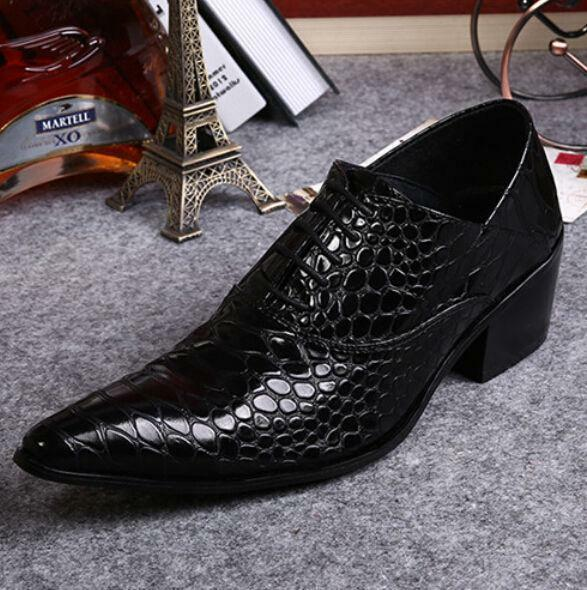 New Uomo Pointed Toe Lace Up Dress Formal Cuban Heel Wedding Pelle Shoes Dress