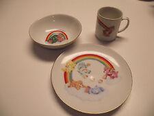 3pc China CARE BEARS Salad Plate Cereal Bowl MUG  Vintage