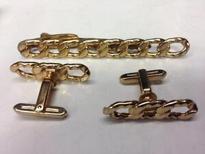 vintage hickok mens cufflinks amp tie bar clip set gold
