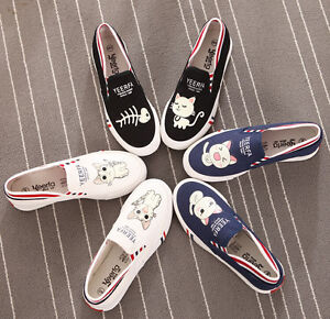 Fashion-Luminous-Hand-painted-Cute-Cartoon-Cats-Kittens-Comfortable-Canvas-Shoes