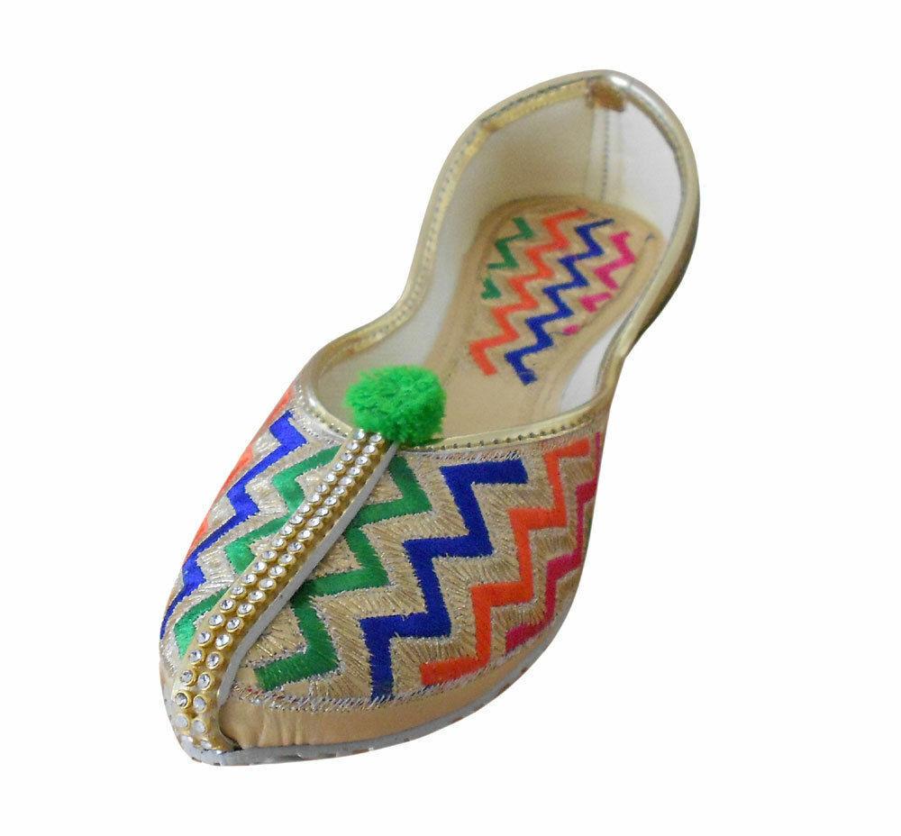 Women Shoes Indian Handmade Mojari Khussa Loafers Flat Jutties UK 4 EU 37