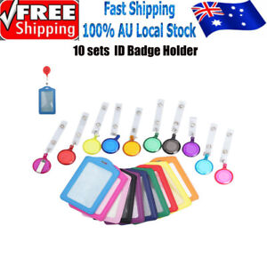 3X Round Retractable Badge Holder Reel Swipe Card Security ID Pull Key Tag Clip