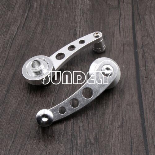 UK 2Pcs Silver Universal Aluminum Auto Car Window Winder Cranks Handle Door Kit