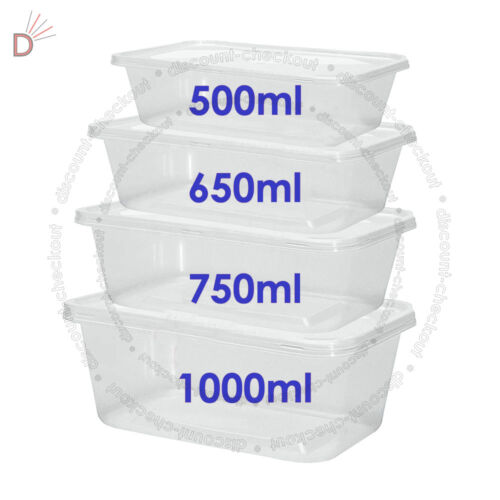 All Sizes Plastic Containers Tubs Clear With Lids Microwave Food Safe Takeaway