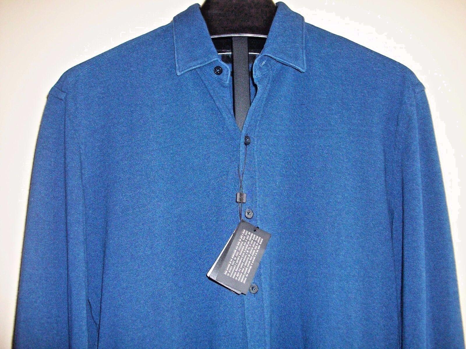 NWT 185 HUGO BOSS Men SHARP-FIT Dark Blau LONG-SLEEVE BUTTON DRESS SHIRT Größe L