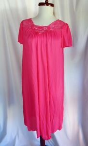 Vintage pink silky Shadowline waltz length night gown, Medium, nylon