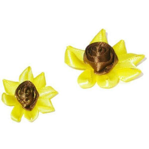 Ribbon Rose Sunflower  Sew On Applique x 10 pieces