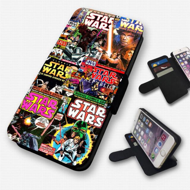 STAR WARS RETRO COMICS - FLIP PHONE CASE COVER WALLET CARD HOLDER (N)
