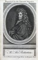 THOMAS BETTERTON, London Actor, original antique portrait print 1754