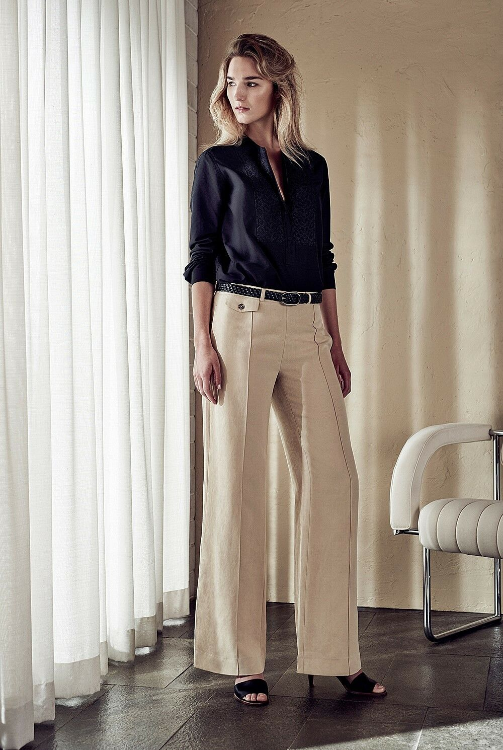 NWT  Designer Country Road Trenery LINEN SILK Trouser Pants -WHITE - FLAX