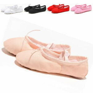 Womens-Girls-Ballet-Ballet-Dance-Shoes-Canvas-Slippers-Pointe-Gymnastics-Shoes