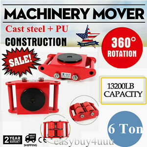 6T Industrial Machinery Mover with 360°Rotation Cap 13200lbs 6T Dolly Skate