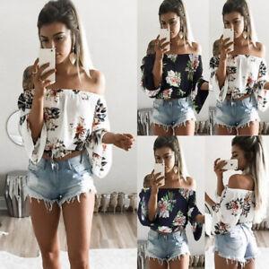 Women-Off-Shoulder-Floral-Ladies-Plus-Size-Loose-Summer-Top-T-Shirt-Blouse-Beach