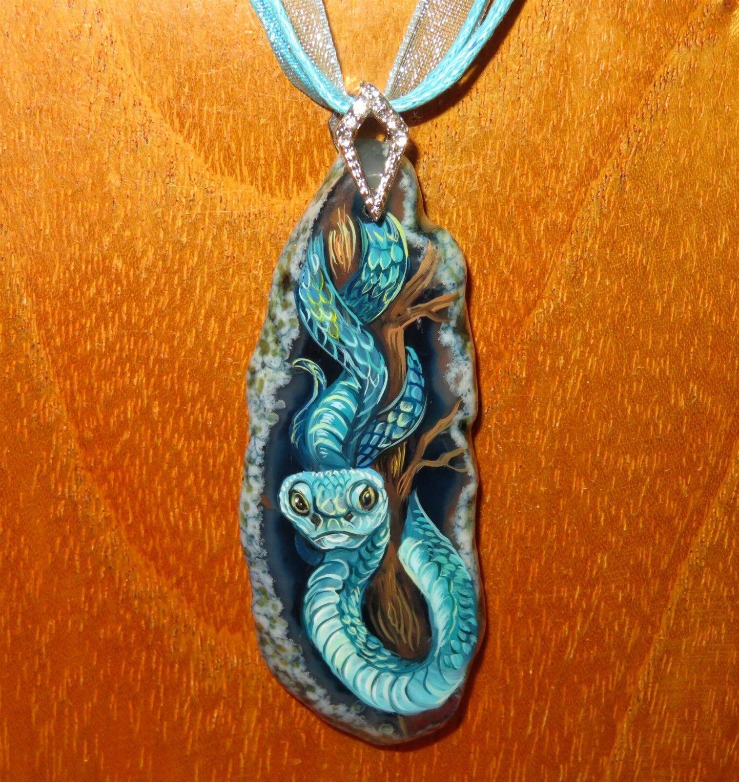 Colgante blue Serpiente Original Pintado a Mano Reptil Piedra Gorbachova Firmado