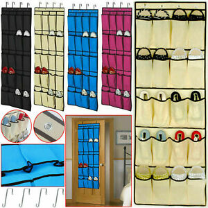 20-Pocket-Hanging-Over-Door-Shoe-Organiser-Storage-Rack-Tidy-Space-Saver-10-Pair