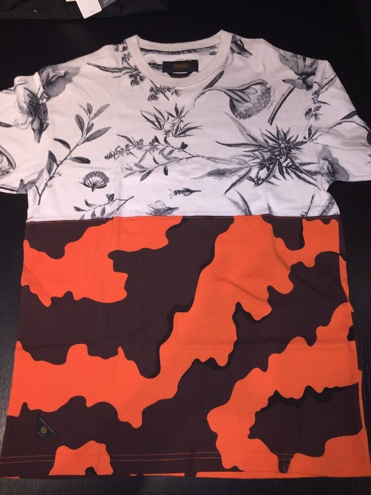 10 DEEP orange CAMO SPLIT T SHIRT MENS  SZ LG