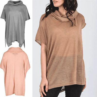 Ladies Womens Batwing Long Sleeve High Polo Cowl Neck Lace Trim Baggy Jumper Top