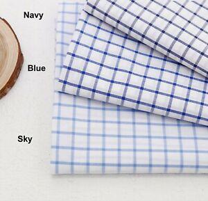 Limpiar azul comprobado 100/% sarga de algodón tejido Half Yard cheque Cuadrado Luz 986404+