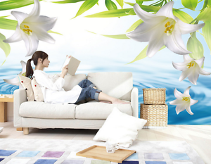 3D White Lily Flower River 2 Paper Wall Print Wall Decal Wall Deco Indoor Murals