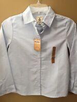 Girls 10 Lands End Light Blue Oxford Button Down Shirt $25 Uniform