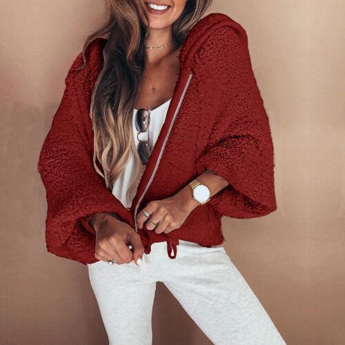 Plus Size Women Long Sleeve Zip-up Short Coat Plush Jocket Loose Hoodeis Outwear