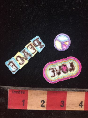 3 Piece PEACE /& LOVE Patch Bling Decoration tiny peace sign 76V4