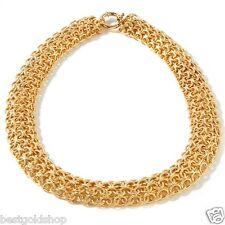 Bellezza Adriana Yellow Solid Bronze Multiple Row Textured Domed Rolo Necklace