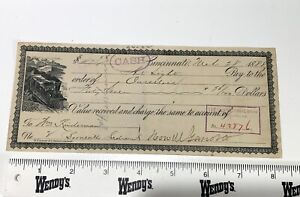 1888 Steam Locomotive Vignette Check Cincinnati Ohio - Booneville Indiana