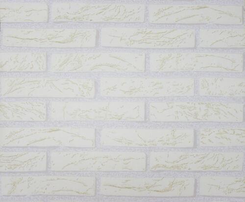 1 Rolle hochwertige dicke Schaum Tapete Klinker Riemchen weiß 9044-3