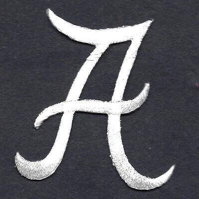 "Iron On Embroidered Applique SCRIPT LETTERS White  Script Letter /""W/"""