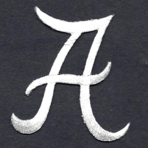 "Iron On Embroidered Applique SCRIPT LETTERS White  Script Letter /""A/"""