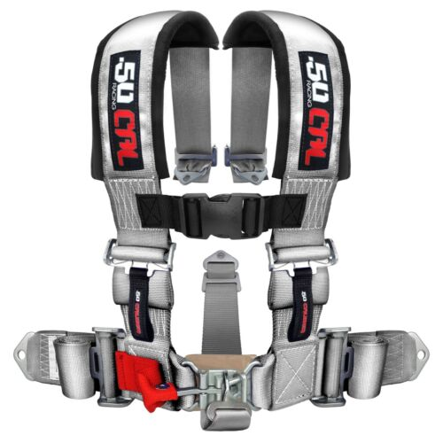 """Silver Race H Harness Safety Seat Belt 5 Point 2/"""" Pad Sand Rail 2x2  Longtravel"""
