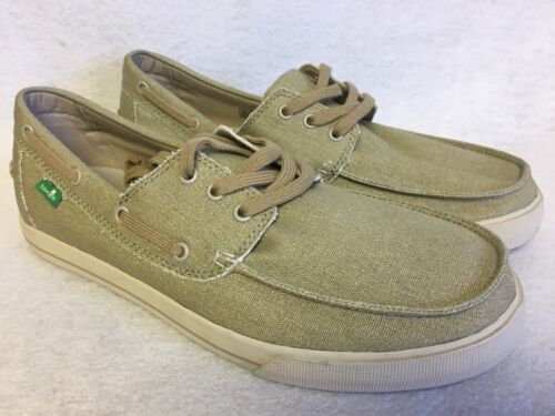 Sanuk The Sea Man Tan Washed Lace Up Boat shoes Loafers size 9 Mens Sneakers NEW