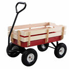 Costway Outdoor Pulling Garden Cart Wagon with Wood Railing
