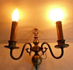 Messing Wandlampe Wandleuchte 2-flammig Kerzendesign   Lampe