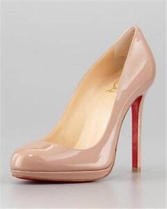b30ff52e438 Details about Christian Louboutin NEOFILO 120 Nude Patent Leather Platform  Pumps Heels Shoes
