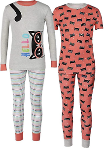 Kirkland Signature de filles 4 pièces pyjama//Pyjama Set 100/% coton taille 4//5 ans
