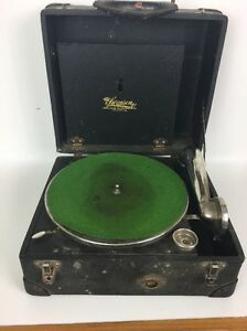 Vintage Swanson Portable Phonograph Hand Crank Record Player 1920's Antique