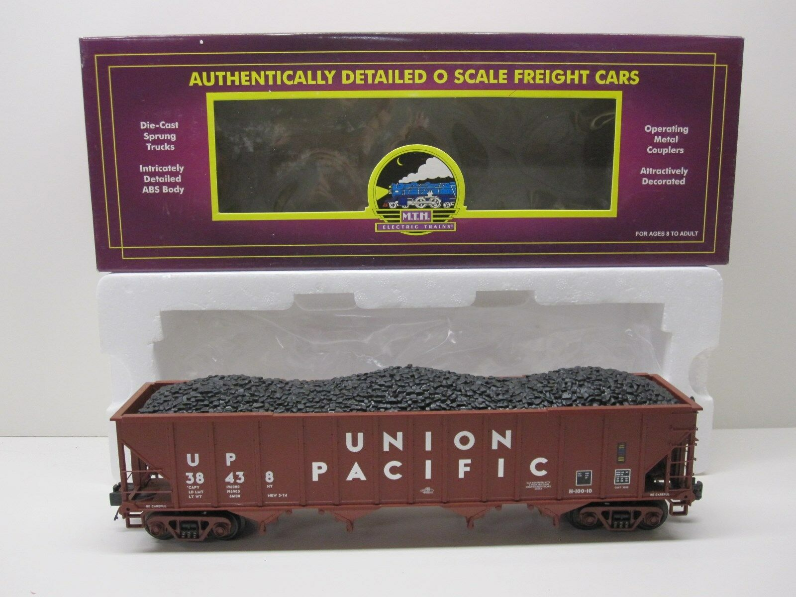 MTH 20-90145B UNION PACIFIC 4 BAY HOPPER WITH REMOVABLE COAL LOAD ORIGINAL BOX