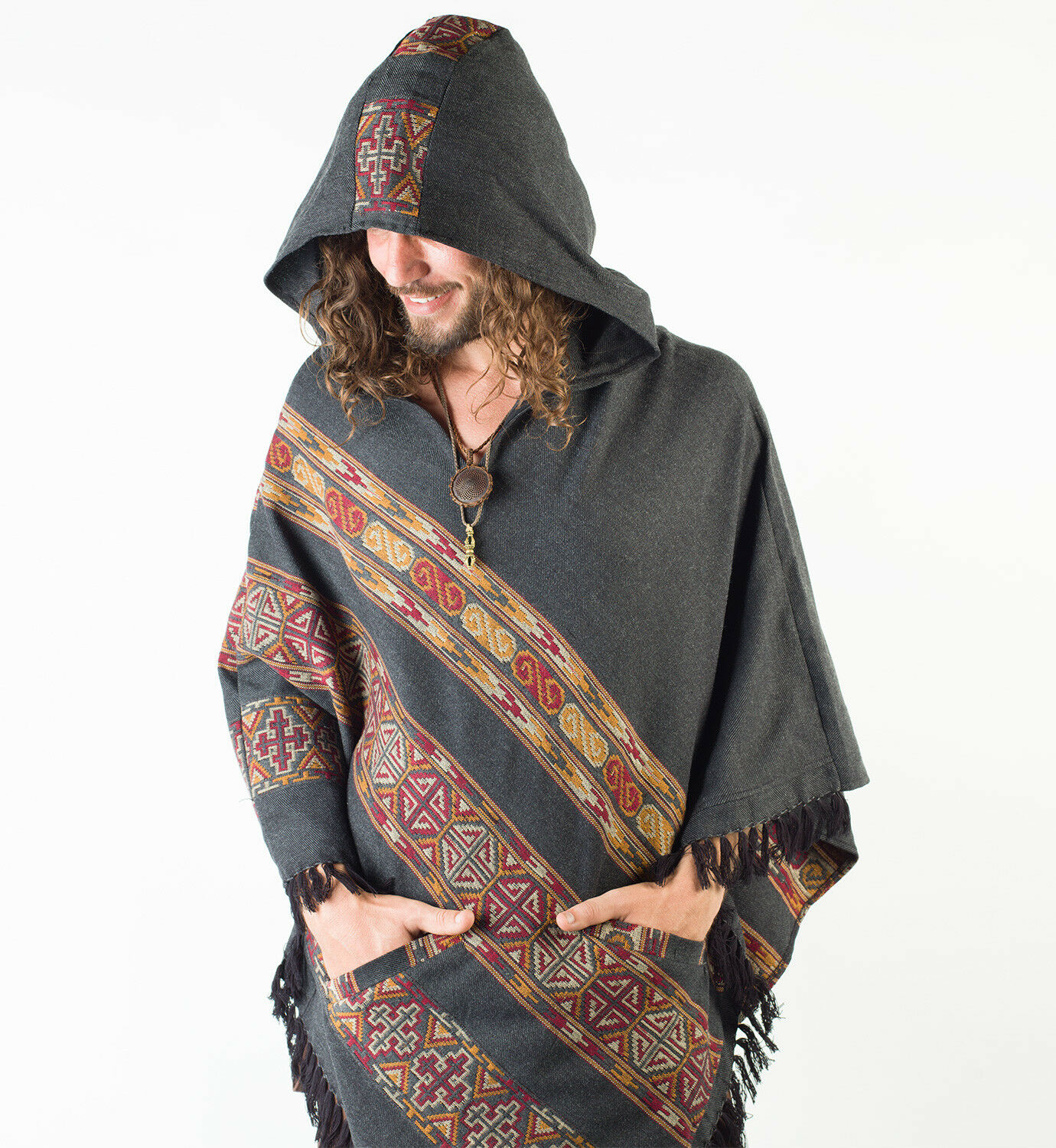 Handmade Poncho with Hoodie Dark Grey YAK Cashmere Wool, Earthy Tribal Pattern