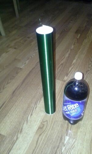 """Green Tesla Coil Secondary 26awg 8/"""" to 26/"""" wound on 2 inch Diameter PVC"""