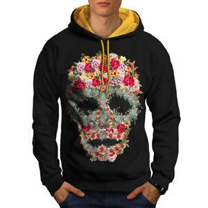 Black Flower Hoodie Rose New Hood Men gold Contrast Skull RBvFWw