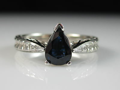 14K Sapphire Ring Vintage Style Estate White Gold Pear Fine Jewelry Size 5.25