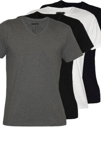 Kurzarmshirt Basic S-XXL Herrenshirt Sky Rebel uni V-Ausschnitt