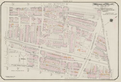 MONTREAL CHARLES E GOAD REPRODUCTION ATLAS MAP 1913 WEREDALE PARK CANADA