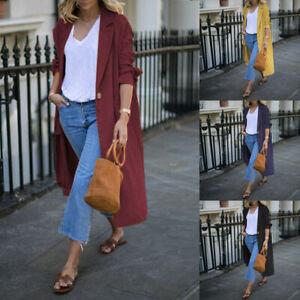 Mode-Femme-Cardigans-Loisir-Manche-Longue-Poche-Boutons-Casuel-Manteau-Plus