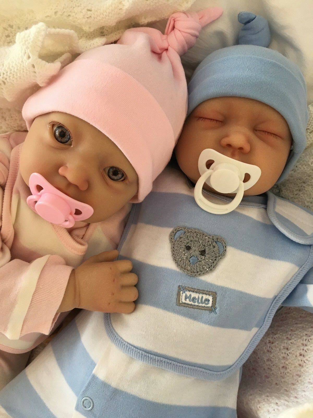 REBORN BABY TWINS MY FAKE BABIES REALISTIC 22    BIG NEWBORN 2 DOLLS BENJI & EMMA 2564ef